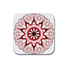 Prismatic Flower Floral Star Gold Red Orange Rubber Coaster (square)  by Alisyart
