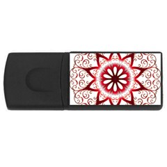 Prismatic Flower Floral Star Gold Red Orange Usb Flash Drive Rectangular (4 Gb) by Alisyart