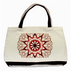 Prismatic Flower Floral Star Gold Red Orange Basic Tote Bag (two Sides) by Alisyart