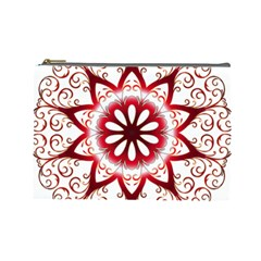 Prismatic Flower Floral Star Gold Red Orange Cosmetic Bag (large)  by Alisyart