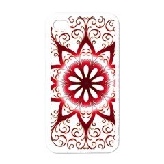 Prismatic Flower Floral Star Gold Red Orange Apple Iphone 4 Case (white) by Alisyart