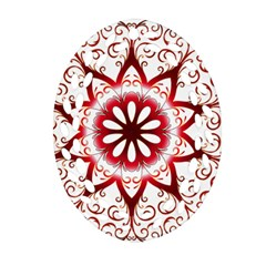Prismatic Flower Floral Star Gold Red Orange Oval Filigree Ornament (two Sides) by Alisyart