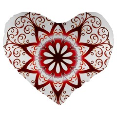 Prismatic Flower Floral Star Gold Red Orange Large 19  Premium Heart Shape Cushions by Alisyart