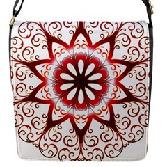 Prismatic Flower Floral Star Gold Red Orange Flap Messenger Bag (s) by Alisyart