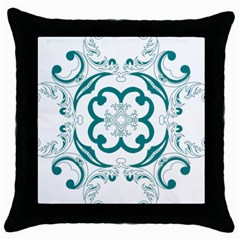 Vintage Floral Star Flower Blue Throw Pillow Case (black) by Alisyart