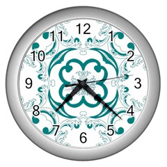 Vintage Floral Star Flower Blue Wall Clocks (silver)  by Alisyart