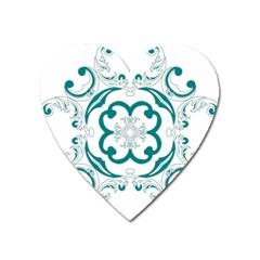Vintage Floral Star Flower Blue Heart Magnet by Alisyart