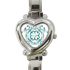 Vintage Floral Star Flower Blue Heart Italian Charm Watch by Alisyart