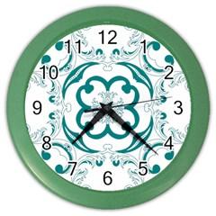 Vintage Floral Star Flower Blue Color Wall Clocks by Alisyart