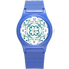 Vintage Floral Star Flower Blue Round Plastic Sport Watch (s) by Alisyart