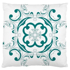 Vintage Floral Star Flower Blue Large Cushion Case (one Side) by Alisyart