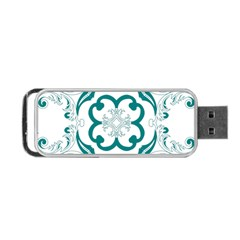 Vintage Floral Star Flower Blue Portable Usb Flash (two Sides) by Alisyart