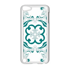 Vintage Floral Star Flower Blue Apple Ipod Touch 5 Case (white) by Alisyart