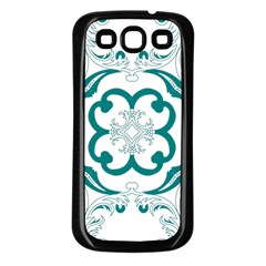 Vintage Floral Star Flower Blue Samsung Galaxy S3 Back Case (black) by Alisyart