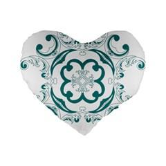 Vintage Floral Star Flower Blue Standard 16  Premium Flano Heart Shape Cushions by Alisyart