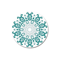 Vintage Floral Star Blue Green Magnet 3  (round) by Alisyart