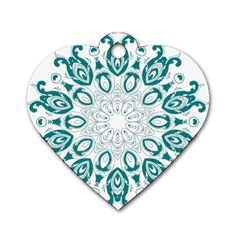 Vintage Floral Star Blue Green Dog Tag Heart (two Sides) by Alisyart