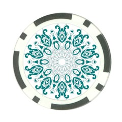 Vintage Floral Star Blue Green Poker Chip Card Guard (10 Pack) by Alisyart