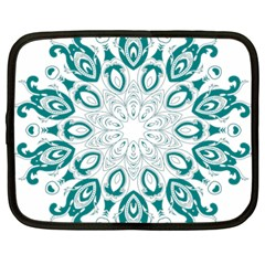 Vintage Floral Star Blue Green Netbook Case (xxl)  by Alisyart