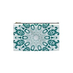 Vintage Floral Star Blue Green Cosmetic Bag (small)  by Alisyart