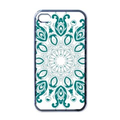 Vintage Floral Star Blue Green Apple Iphone 4 Case (black) by Alisyart