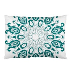 Vintage Floral Star Blue Green Pillow Case (two Sides) by Alisyart