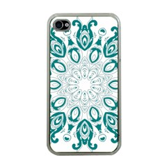Vintage Floral Star Blue Green Apple Iphone 4 Case (clear) by Alisyart