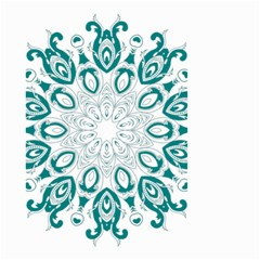 Vintage Floral Star Blue Green Small Garden Flag (two Sides) by Alisyart