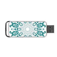 Vintage Floral Star Blue Green Portable Usb Flash (two Sides) by Alisyart