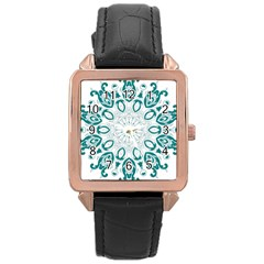 Vintage Floral Star Blue Green Rose Gold Leather Watch  by Alisyart