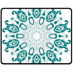 Vintage Floral Star Blue Green Double Sided Fleece Blanket (medium)  by Alisyart