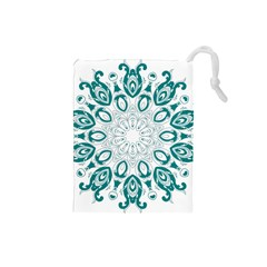 Vintage Floral Star Blue Green Drawstring Pouches (small)  by Alisyart