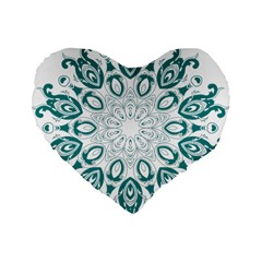 Vintage Floral Star Blue Green Standard 16  Premium Flano Heart Shape Cushions by Alisyart