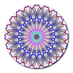 Prismatic Line Star Flower Rainbow Round Mousepads