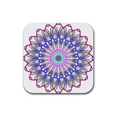 Prismatic Line Star Flower Rainbow Rubber Coaster (square)