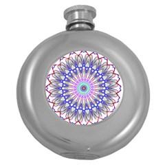 Prismatic Line Star Flower Rainbow Round Hip Flask (5 Oz) by Alisyart