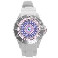 Prismatic Line Star Flower Rainbow Round Plastic Sport Watch (l) by Alisyart