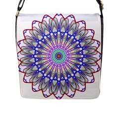 Prismatic Line Star Flower Rainbow Flap Messenger Bag (l)  by Alisyart