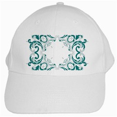 Vintage Floral Style Frame White Cap by Alisyart