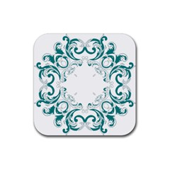 Vintage Floral Style Frame Rubber Square Coaster (4 Pack)  by Alisyart