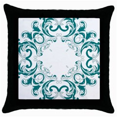 Vintage Floral Style Frame Throw Pillow Case (black) by Alisyart