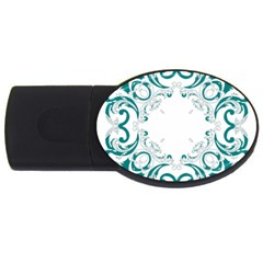 Vintage Floral Style Frame Usb Flash Drive Oval (2 Gb) by Alisyart