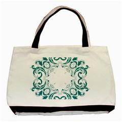 Vintage Floral Style Frame Basic Tote Bag by Alisyart