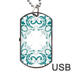 Vintage Floral Style Frame Dog Tag Usb Flash (two Sides) by Alisyart