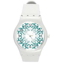 Vintage Floral Style Frame Round Plastic Sport Watch (m) by Alisyart