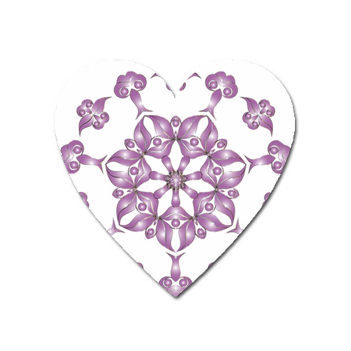 Frame Flower Star Purple Heart Magnet