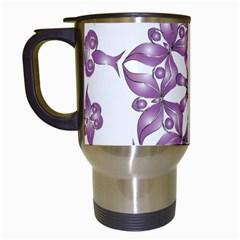 Frame Flower Star Purple Travel Mugs (white) by Alisyart