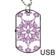 Frame Flower Star Purple Dog Tag Usb Flash (two Sides) by Alisyart