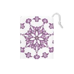 Frame Flower Star Purple Drawstring Pouches (small)  by Alisyart