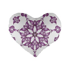 Frame Flower Star Purple Standard 16  Premium Flano Heart Shape Cushions by Alisyart